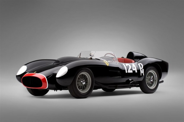 """<strong>1957 Ferrari 250 Testa Rossa – Estimate Unavailable. </strong>Chassis # 0714TR was extensively raced in period and is offered at auction for the first time. Painted in its period race-correct black livery and red nose. While estimates are unavailable, RM expects 0714TR to set a new auction world record, beating the $10,894,000 achieved by the <a href=""""http://www.sportscardigest.com/archives/854""""><strong>1961 Ferrari 250 GT SWB California Spyder (s/n 2377GT)</strong></a> at the 2008 Ferrari Leggenda e Passione event."""