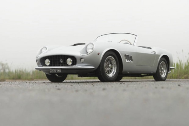 <strong>1962 Ferrari 250 GT SWB California Spider – Estimate Unavailable.</strong> Ferrari Classiche Certified and restored by Paul Russell; award winner at Pebble and Amelia Concours; formerly the property of Mark Tuttle, Anthony Wang and Bud Lyon.