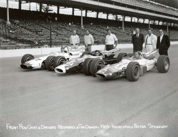 Front row for 1965 Indy 500 - L to R, Dan Gurney, Jim Clark and A.J. Foyt
