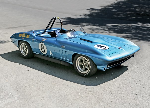 "<strong>1965 Chevrolet Corvette ""8-Ball Cobra Killer"" Race Car – Estimate $300,000 - $500,000. </strong>Ex-Dick Guldstrand and Herb Caplan raced successfully in USRRC and SCCA. Caplan drove it to victory at Stardust Grand Prix and 1966 Northern Pacific A Production SCCA Divisional Championships."