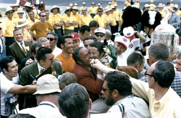 Granatelli kissing Mario Andretti after victory at the 1969 Indy 500