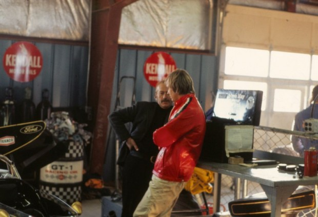 Lotus Boss Colin Chapman and Ronnie Peterson in the Watkins Glen garage Friday