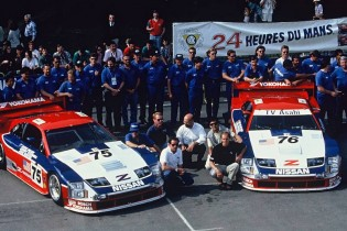 Steve Millen (front left) is pictured with the 1994 Le Mans winning CCR Team.