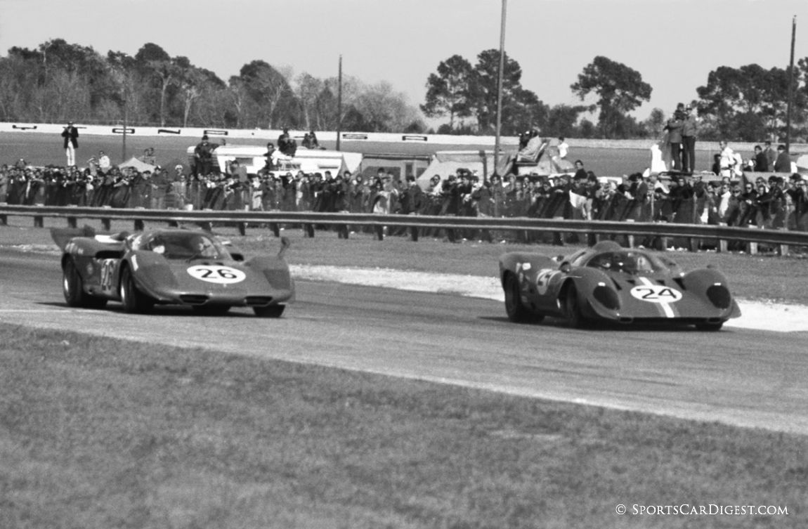 Mike Parkes/Sam Posey NART Ferrari 312P would outlast the factory 512S of Nino Vaccarella and Ignazio Giunti and finish fourth overall and first in class. (Lou Galanos photo)