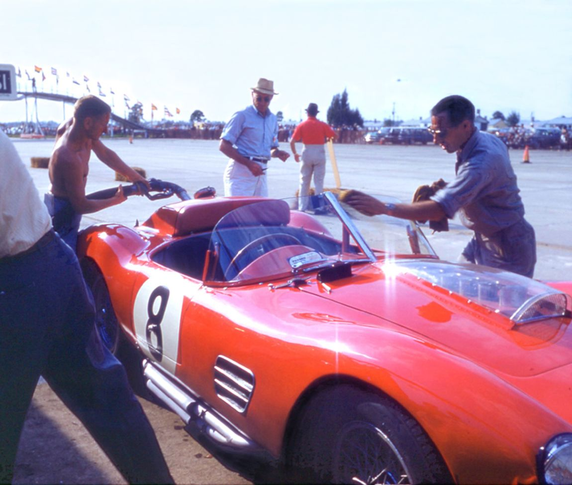 The windshield and rear area of the Pete Lovely, Jack Nethercutt Ferrari 250 TR 59 show the changes needed to pass FIA inspection in 1960. BARC boys photo.