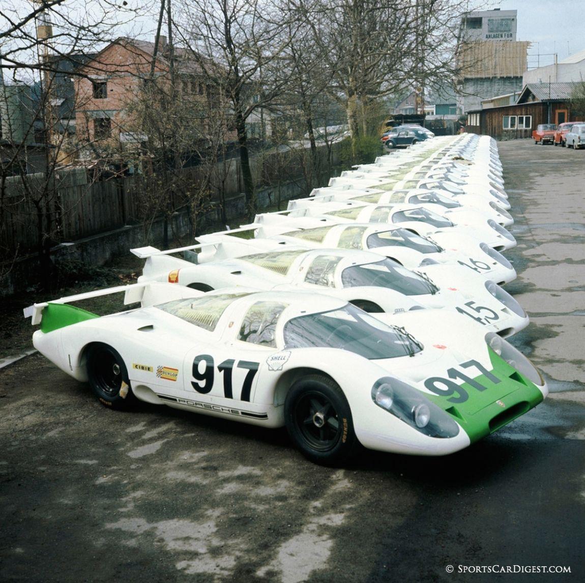 Porsche 917s lined up in preparation for FIA homologation. Porsche AG photo.