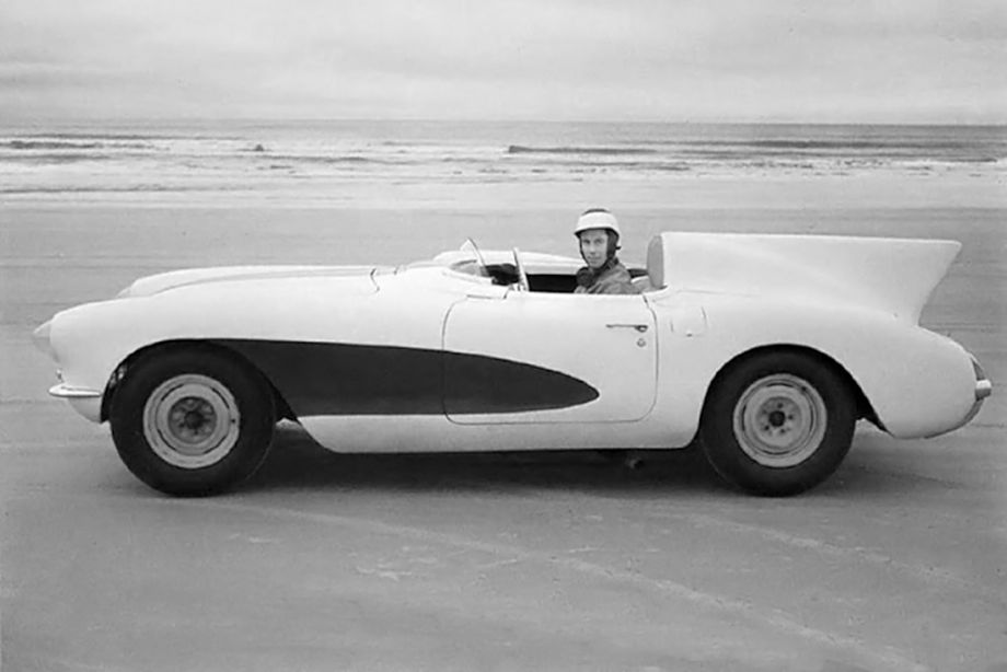 John Fitch setting a speed record in his prototype Corvette at Daytona Speedweeks in January of 1956.