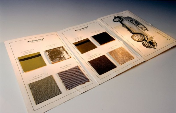 Automotive history in detail: this collection of seat-cover material samples forms part of the archived materials