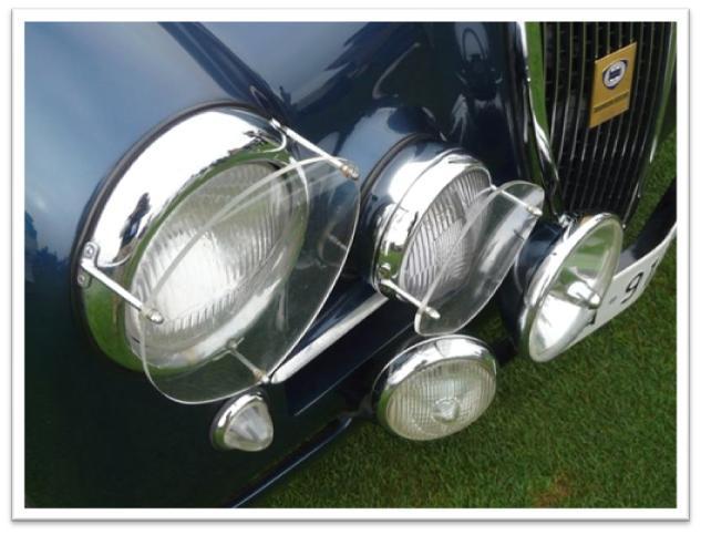 Headlight array on Lancia Aurelia B20 GT at 2008 Pebble Beach Concours d'Elegance