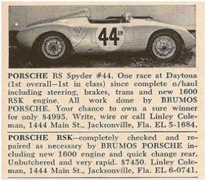 Porsche 550 RS Spyder and Porsche 718 RSK for sale