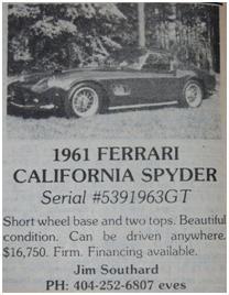 Ferrari 250 GT SWB California Spyder for sale
