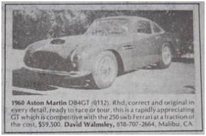 Aston Martin DB4GT for sale