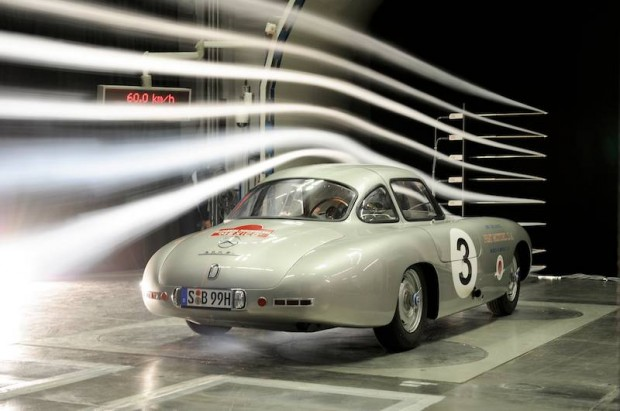 Wind tunnel measurements for Mercedes-Benz 300 SL (W 194 series, 1952).
