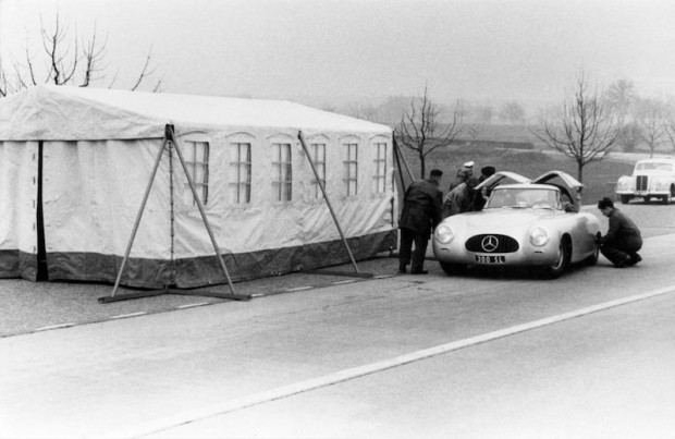 Mercedes-Benz 300 SL (W 194) with chassis number 1, 1952. Press presentation on 12 March 1952 on the motorway Stuttgart-Heilbronn.