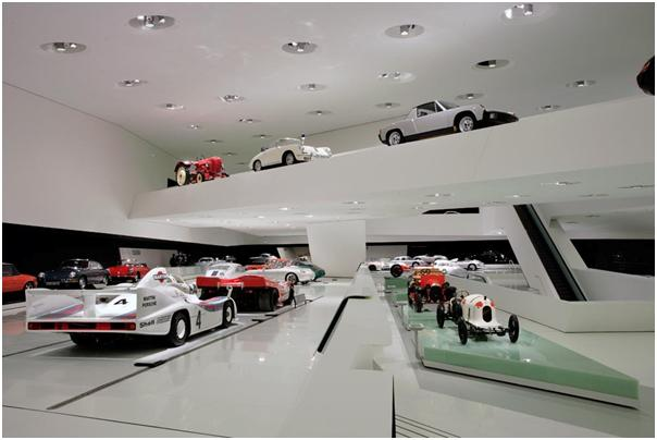View into the exhibition area of the Porsche Museum