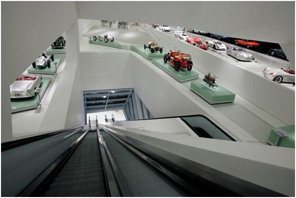 A different view into the exhibition area of the Porsche Museum