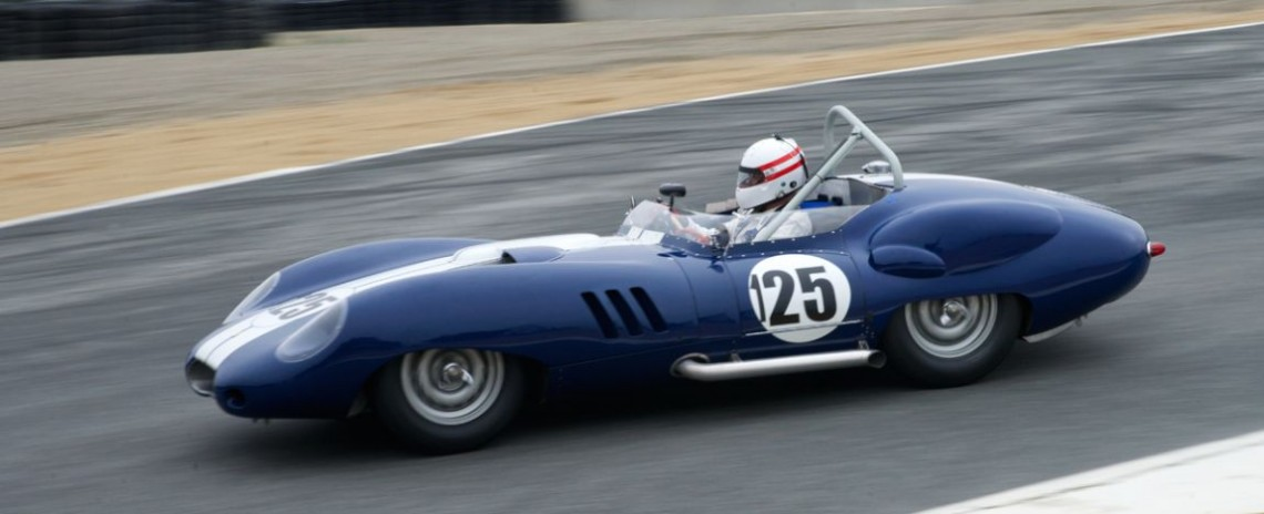Erickson Shirley's 1959 Lister Costin Chevrolet enters The Corkscrew.