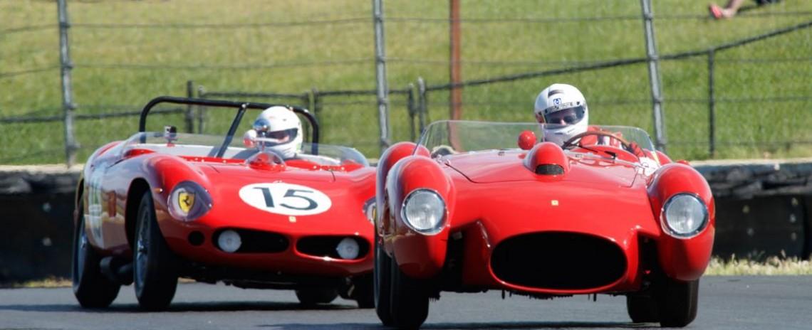 Tom Price in his Ferrari 250TR leads Spencer Trenery in his Ferrari 250TRI 61 R.