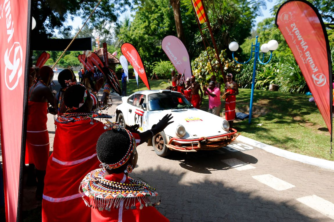 Porsche 911 of Steve Troman and Calvin Cooledge at the start of the East African Safari Classic Rally 2015