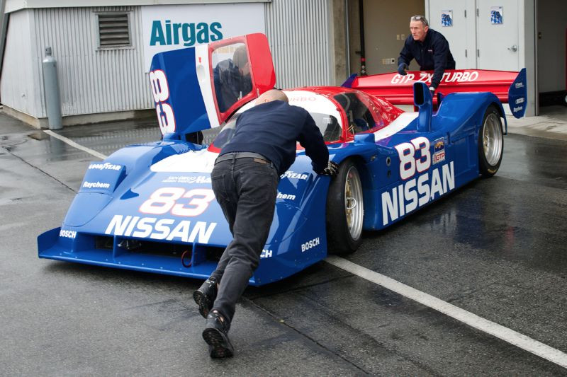 Canepa's IMSA GTP ZX Turbo Nissan comes off the truck.