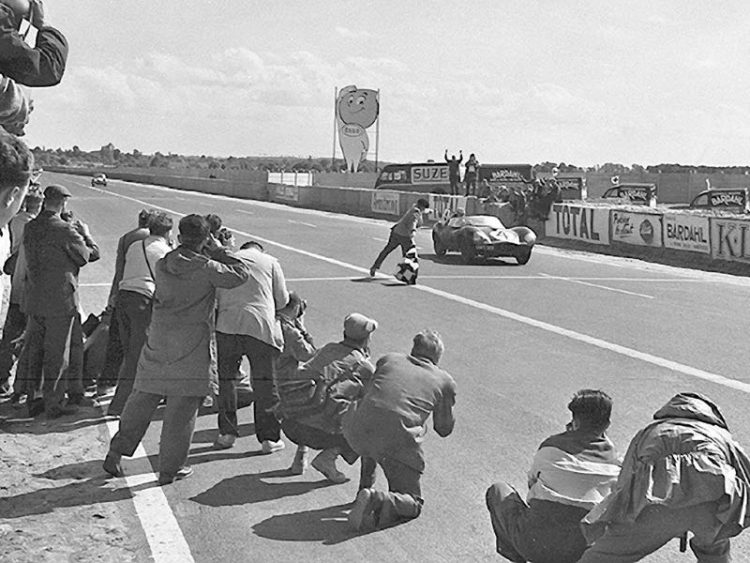 Jaguar D-Type XKD 501 takes checkered flag at 1956 Le Mans 24 Hours (photo: Klemantaski Collection)