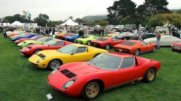 Colorful gathering for the 50th Anniversary of the Lamborghini Miura