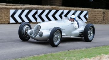 Mercedes-Benz Classic at the Goodwood Festival of Speed in 2012. Jochen Mass at the wheel of a Mercedes-Benz Silver Arrow W 125 from 1937