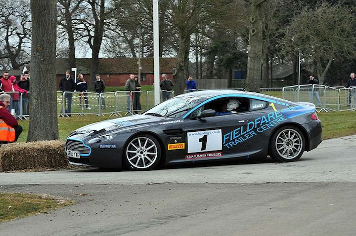 Stig Blomqvist gets to grip with the Aston Martin GT Rally Car