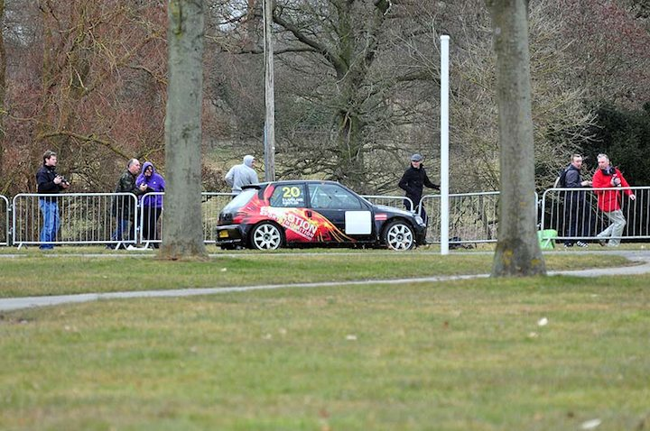 Peugeot of G. Butler spins off into the crowd fence