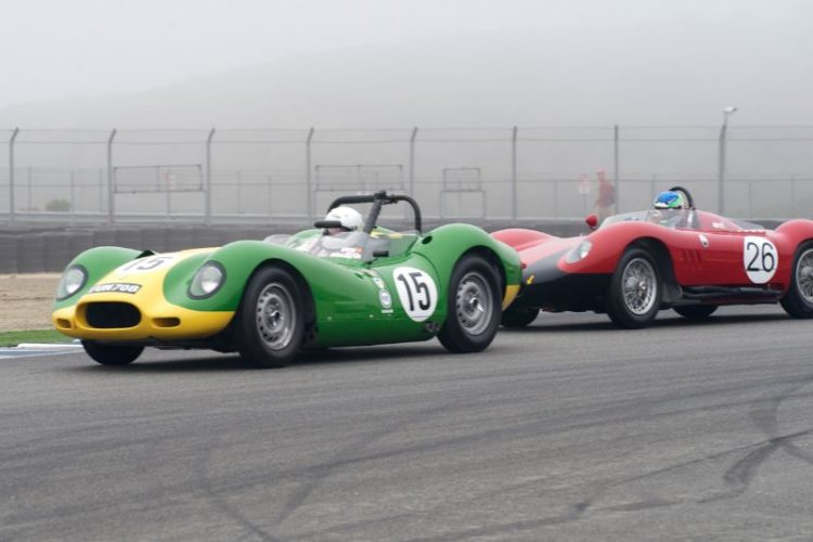 Brent Backman's 1958 Lister Knobbly Jaguar leads Joe Lacob's 1956 Maserati 200S.