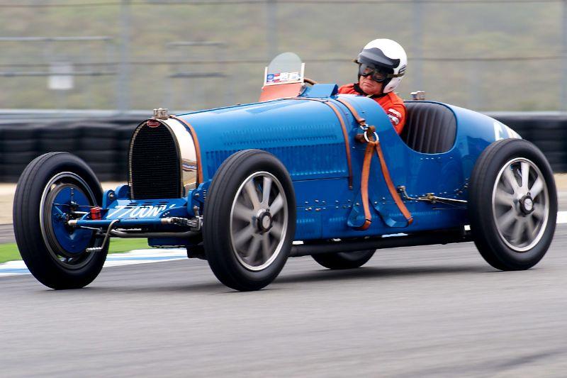 Ivan Zaremba at speed in his 1930 Bugatti Type 35B.