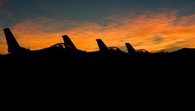 Pre dawn F-16s on the flight line.