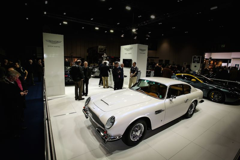 Aston Martin display at the London Classic Car Show