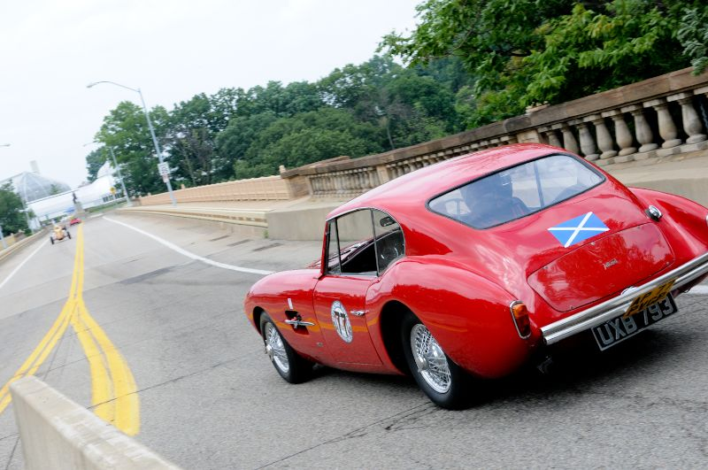 Alan Patterson turns is 1956 Allard Coupe onto Panther Hollow Bridge.