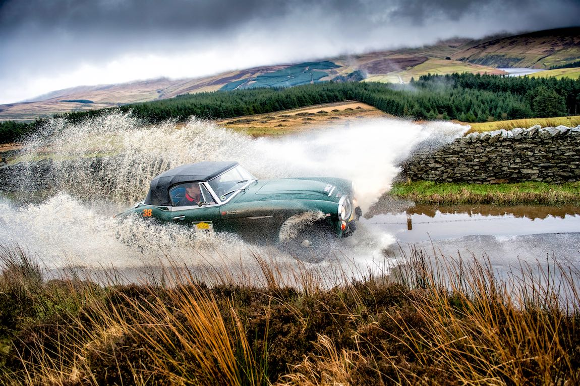 A 1966 Austin-Healey 3000 Mk III makes a splash