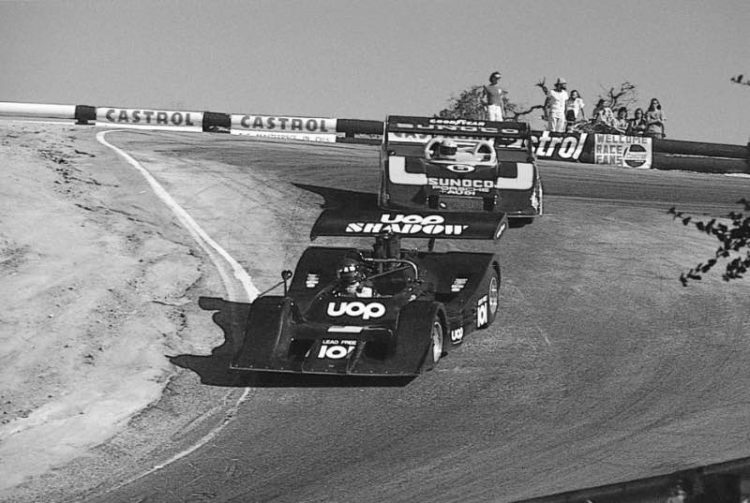 The Can-Am Series made its last appearance at Laguna Seca at the 1973 Monterey Grand Prix. Vic Elford (10) in the UOP Shadow was chased through the Corkscrew by winner Mark Donohue (6) in the dominant Sunoco Porsche 917/30.
