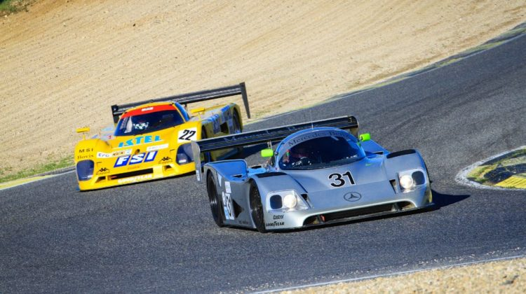 The 1989 Mercedes-Benz C11 leads going through a bend during The Jarama Classic 2017