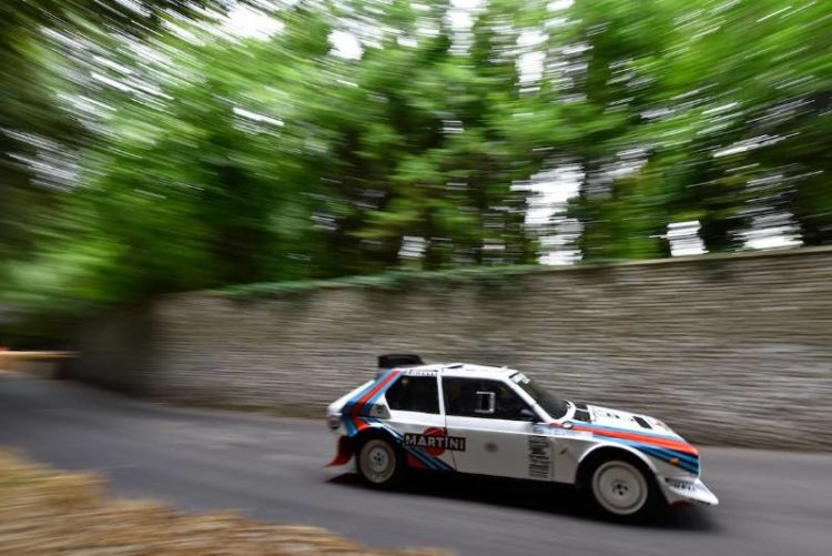 Valentino Rossi pilots the Lancia Delta S4 at Goodwood Festival of Speed 2015