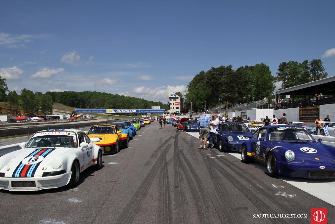 54 Porsches waiting for the start of the Classic Porsche Feature RaceA.