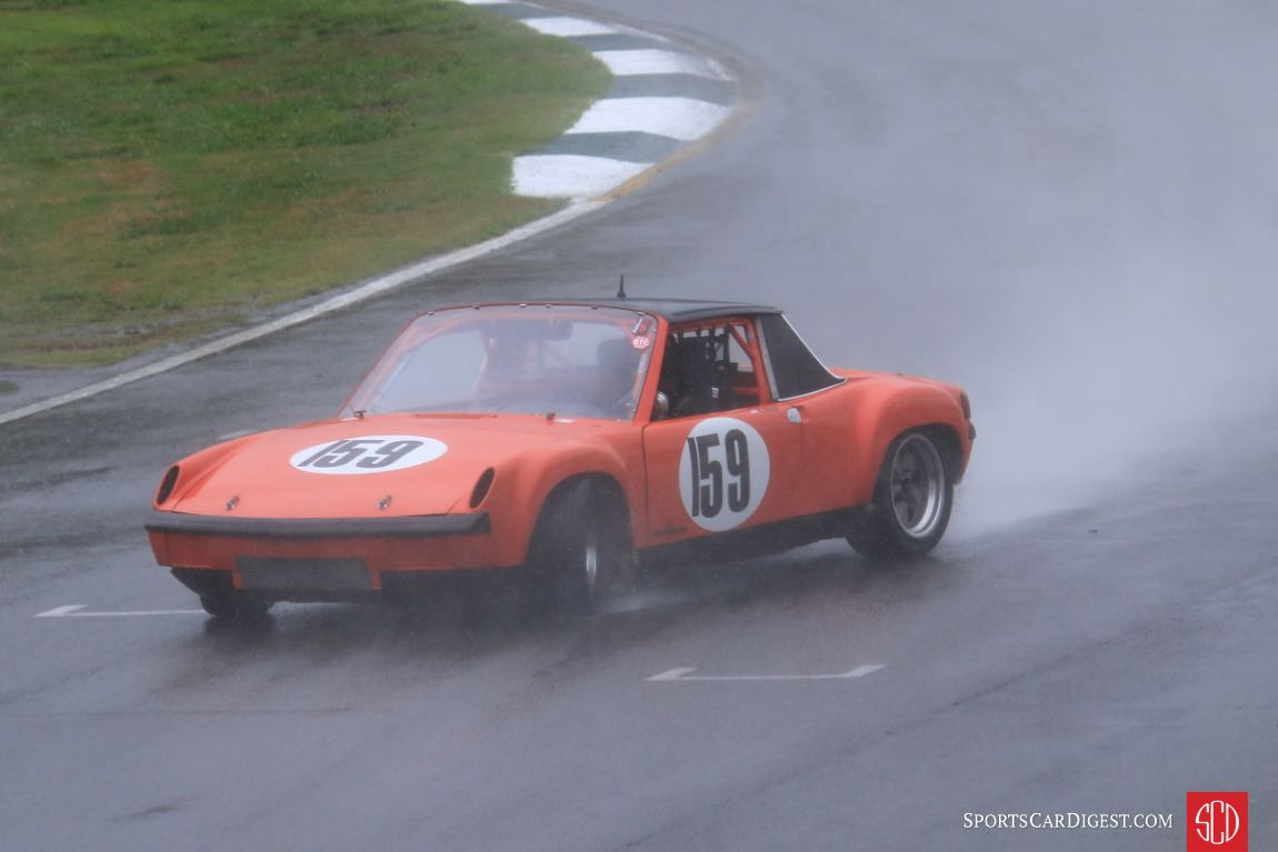 Frank Beck, 72 Porsche 914/6 takes turn 12 real sideways. He managed to straighten the car out.