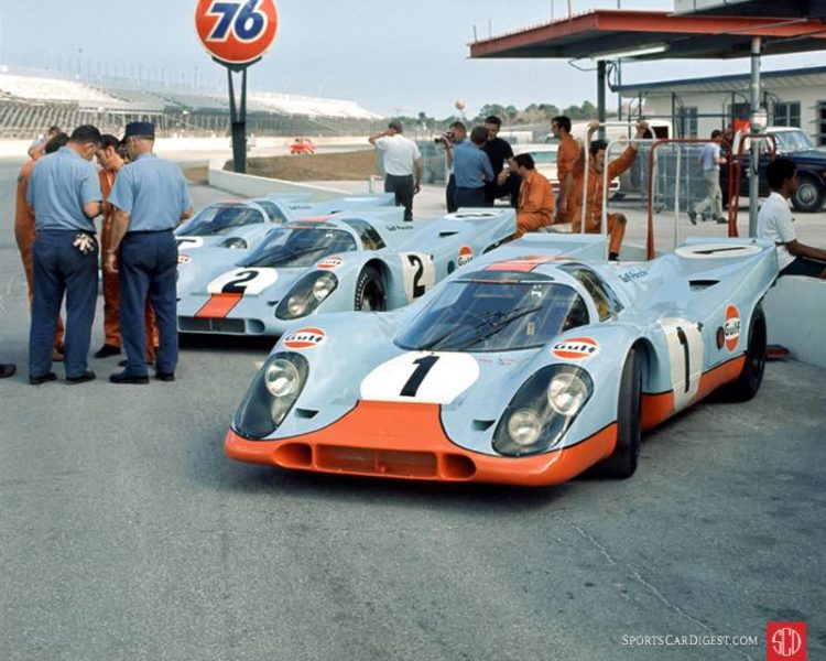 Three of the four Gulf Porsche 917s on the grid at the 1970 Daytona 24. Fred Lewis photo.