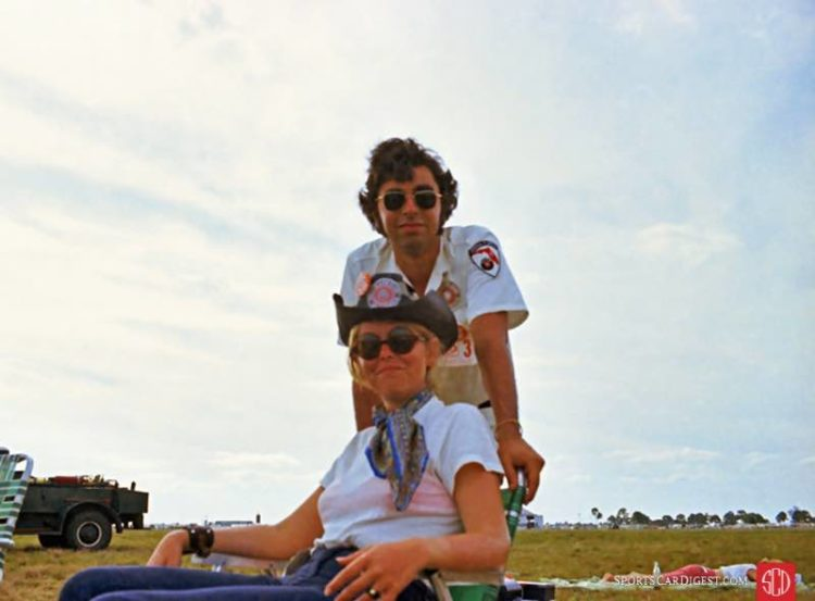 Author and fiancee at Sebring in 1970. Lou Galanos photo.