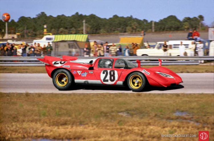 Mario Andretti in his factory Ferrari 512S that finished third behind the two Gulf 917s at Daytona in 1970. Lou Galanos photo.