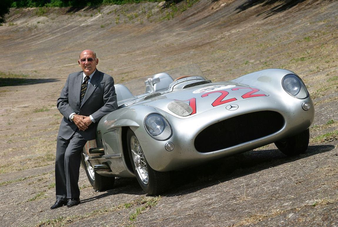 Stirling Moss with the Mille Miglia-winning Mercedes-Benz 300 SLR (photo: Daimler AG)