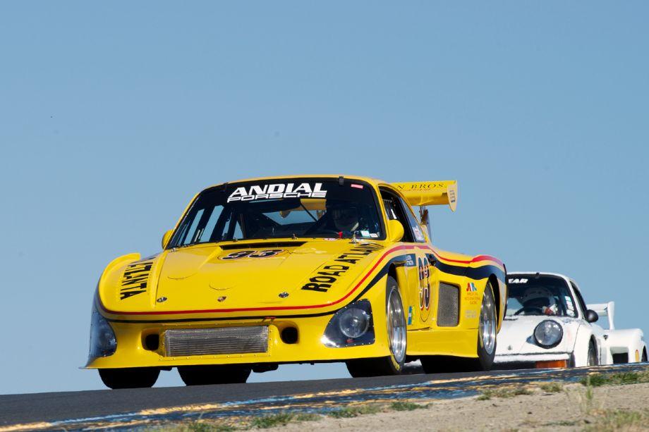 Steve Schmidt's 1976 Porsche K-3 leads James Lawrence's 1977 Porsche 934.5 in three.