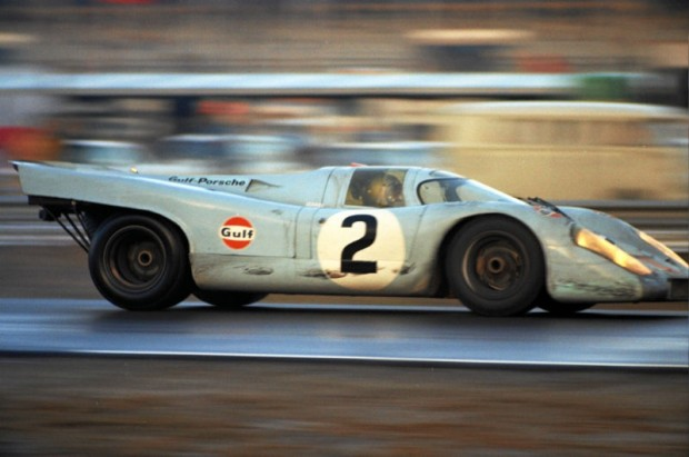 Pedro Rodriguez driving the winning Gulf/Wyer 917 in the 1971 24 Hours of Daytona.  Note the tire marks on the side of the car indicating some close quarters racing.  Rodriguez would die just 6 months after this photos was taken while driving a Ferrari 512M in a sports car race in Germany.