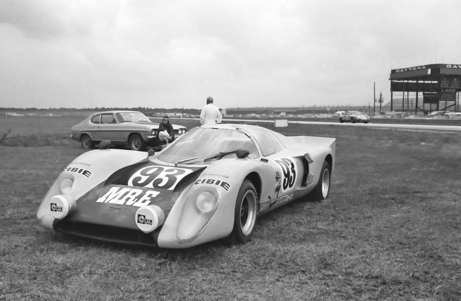Another Ford-Cosworth powered car was this Chevron B16 that was piloted by Bob Fisher and Tom Gloy.  It is pictured here parked on turn three at Daytona.  It failed to finish.  Louis Galanos photo.