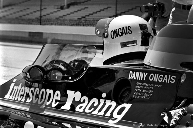 """Danny Ongais drove Ted Field's Parnelli VPJ6B in the 1977 """"500,"""" but engine trouble dropped him from the race on lap 90."""