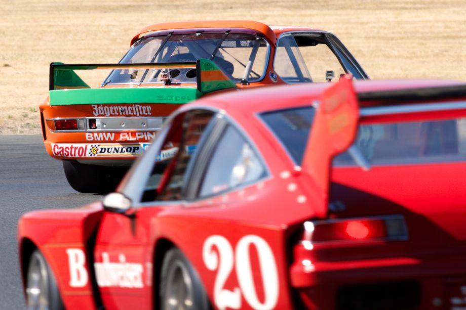 Steve Walker's BMW CSL leads Ken Epsman's Dekon Monza into four.