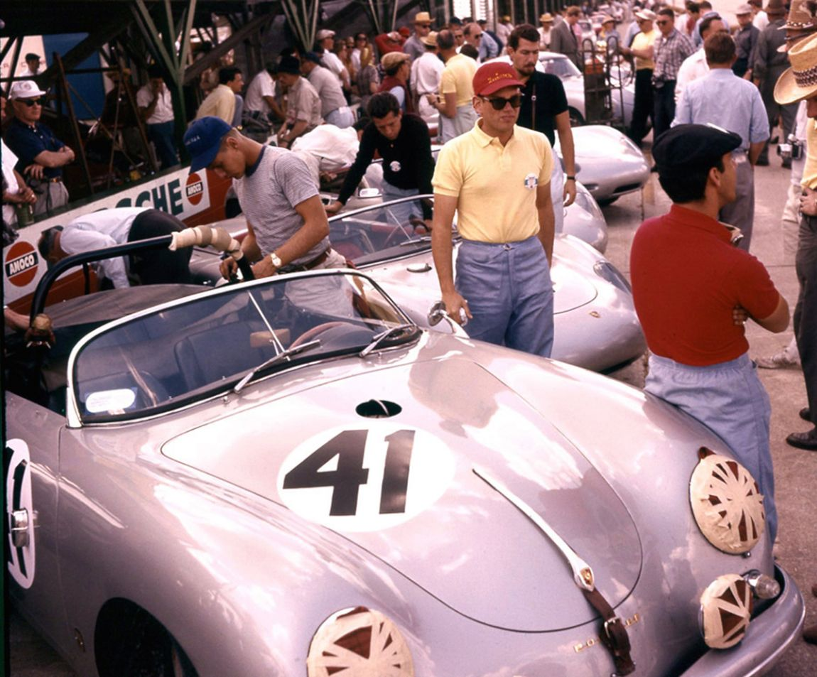 Also not finishing was the Porsche 356A of John Cuevas and Ulf Norinder. A broken crankshaft sidelined them after only 33 laps.  BARC boys photo.
